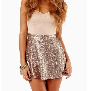 Tobi Gold Sequin Covered Mini Skirt